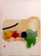 """""""Kit de primeros auxilios"""", óleo y collage con estampados del Museo de Israel."""